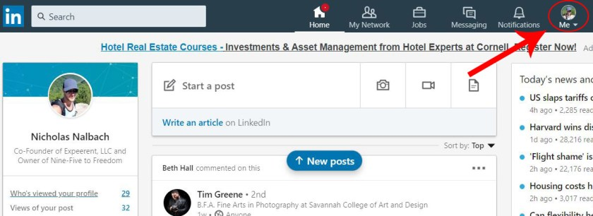 First step to add a resume to LinkedIn. Arrow pointing to profile picture.