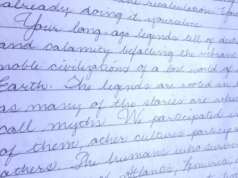 Semjase, Handwriting Example