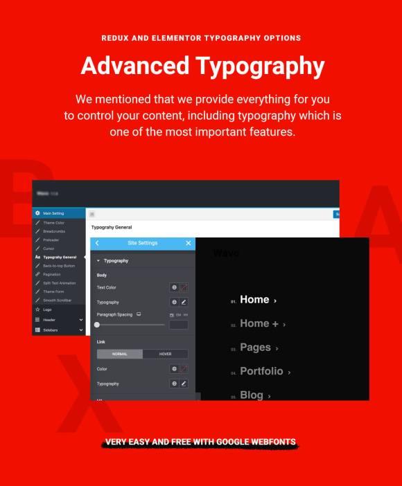 Awam Theme WordPress Elementor Typography