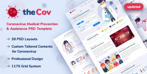 TheCov - Coronavirus Prevention & Assistance PSD Template