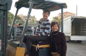 Loriana and Maria Pia working hard at the press