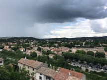 We got used to seeing these skies. This is the veiw over Vaison la Romane