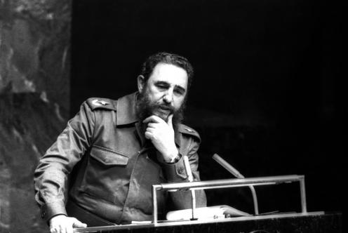 File photo of Fidel Castro at the United Nations in New York