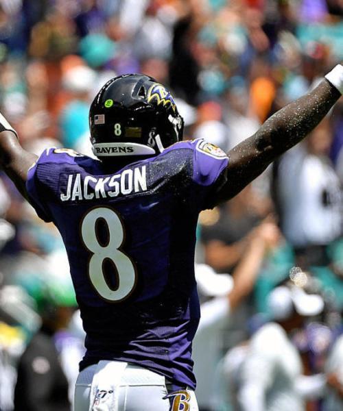 Jackson celebrates a touchdown against the Miami Dolphins