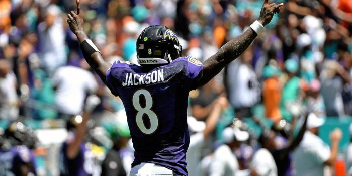 Jackson celebrates a touchdown against the Miami Dolphins