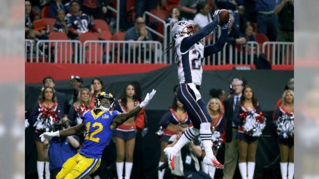 Stephon Gilmore intercepting Jared Goff in Super Bowl LIII
