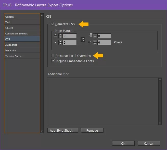 Indesign epub export options generate css dialogue box