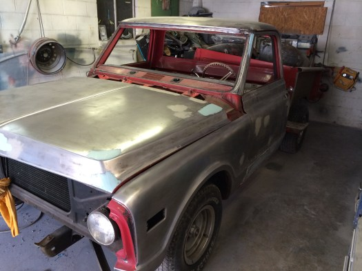 1972 chevrolet step side pickup, stripped for paint