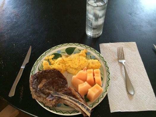 Steak and eggs, pasture raised, organic.