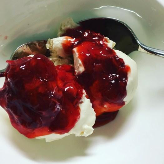 Palace Green freezer jam on vanilla ice cream