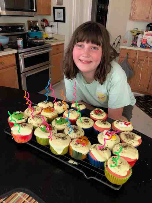 Wildflower with cupcakes she made for a party