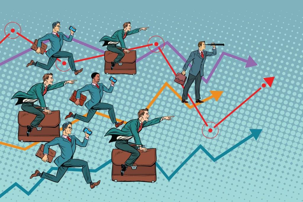 Businessmen competing
