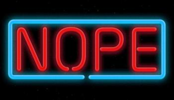 Neon sign that says NOPE