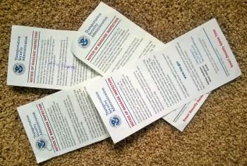 Pile of TSA notices