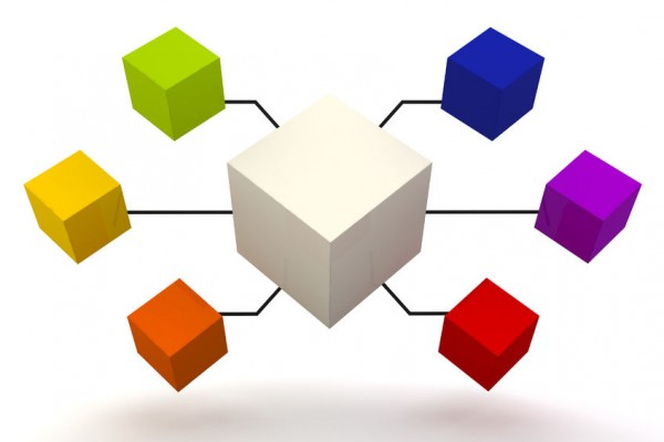 27593670 - white and colorful organization box expand 3d render