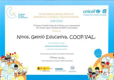 Diploma d'UNICEF per Bones Pràctiques a Ninos