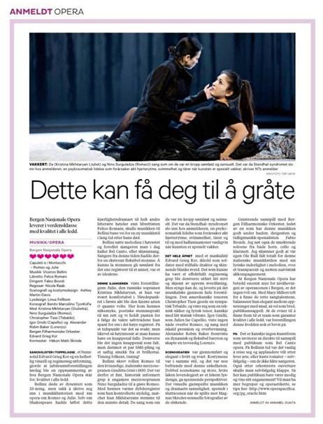 Bergen National opera, Nino Sutguladze, Romeo & Juiet, Kristina Mkhityrian