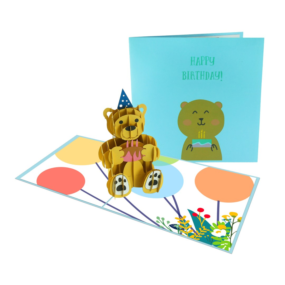 Bear Birthday 3D Card - Birthday Card
