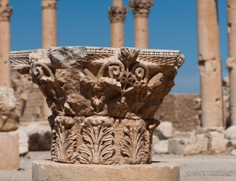 The head of a Corinthian column laying around all over the place in Palmyra