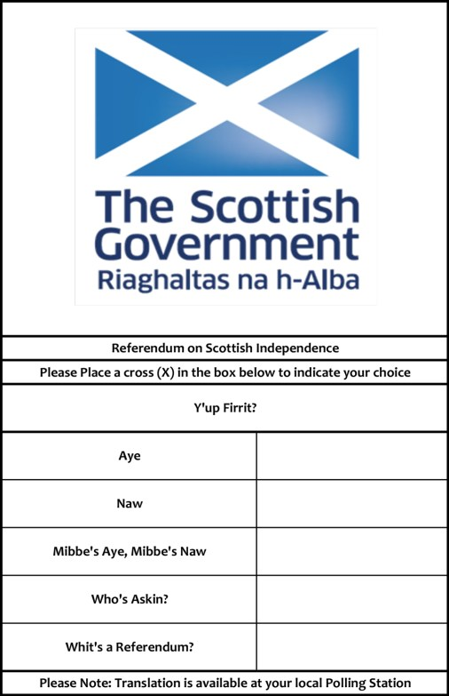 Mark's version of the referendum's ballot in Gaelic: English is our second language, what about Gaelic???