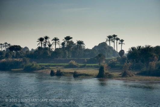 Foggy morning view from our steam ship along the River Nile