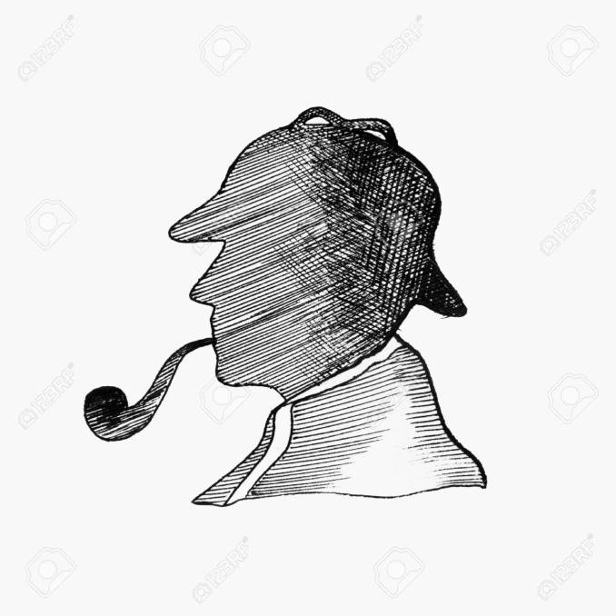 Sketch silhouette of Sherlock Holmes with a tube on a white background.