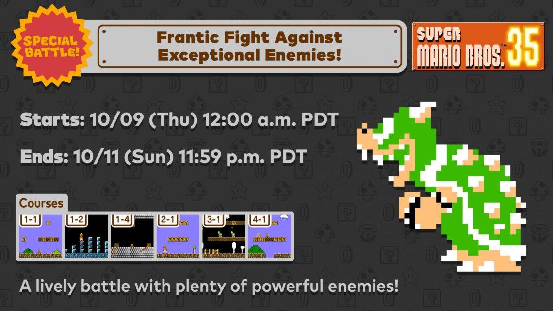 """Super Mario 35   Próxima Batalha Especial """"Frantic Fight Against Exceptional Enemies"""" acontecerá em 09 de outubro"""