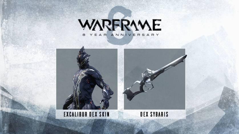 Εορτασμοί 8ης επετείου Warframe - Excalibur Dex Skin, Dex Sybaris, Weapon Slot
