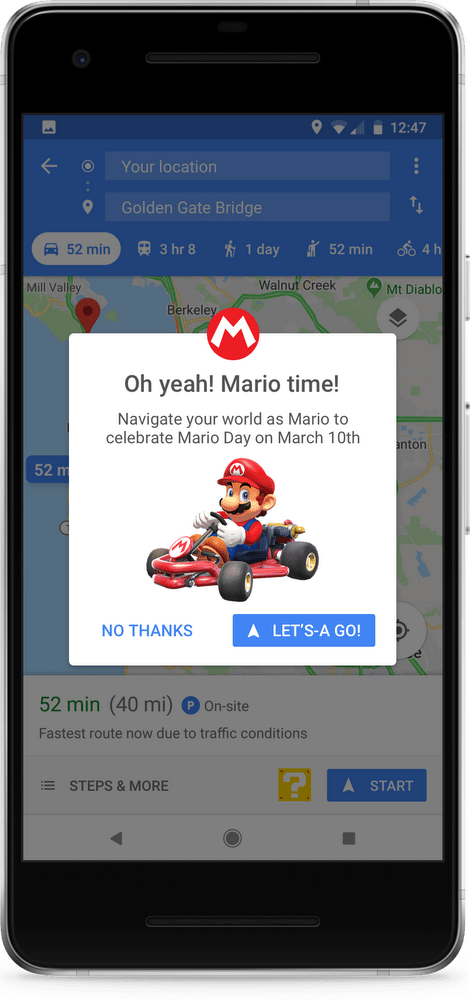 And that's it! The navigation arrow has turned into Mario riding on his  kart, following wherever you're driving to. Mario will be up on Google Maps  until ...