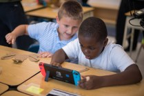Nintendo Partners with Institute of Play to Bring Nintendo Labo to schools, at Lake Hiawatha Elementary School on Wednesday, Oct. 10, 2018 in Lake Hiawatha, N.J. (Charles Sykes/AP Images for Nintendo)