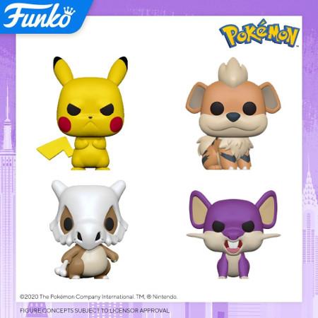 Grumpy Pikachu Funko Games: POP Pokemon Collectors Set Series 3 Cubone Rattata Growlithe