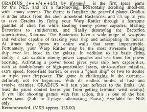Gradius Review - Computer Entertainer - January 1987