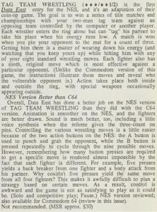 Tag Team Wrestling Review - Computer Entertainer December 1986 pg 11