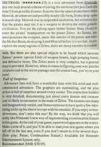Metroid Review - Computer Entertainer - Sept 87