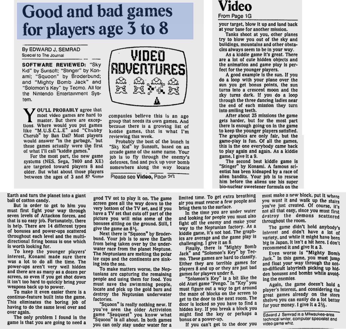 NES Game Reviews – Video Adventures by Ed Semrad – Milwaukee