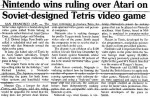 Nintendo Wins Tetris Lawsuit | The Times News Idaho | Nov 16 1989 p19