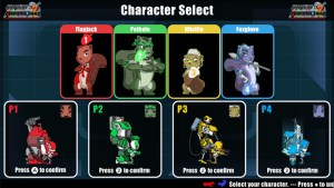 Armored ACORNs Action Squirrel Squad - Wii U Character Select Screen