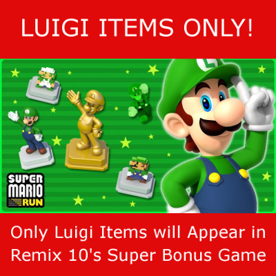 Luigi Items only in the Remix 10 Super Mario Run