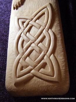 Detail of Celtic Bear carving.