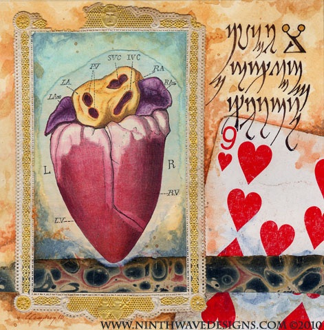 """Nine of My Heart: Collage, colored pencils, and acrylic inks on paper, 5"""" x 5"""", completed in 2010."""