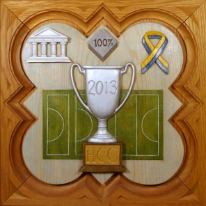 """SPS Form of 2013 Plaque, 11.25"""" x 11.25"""", painted basswood."""