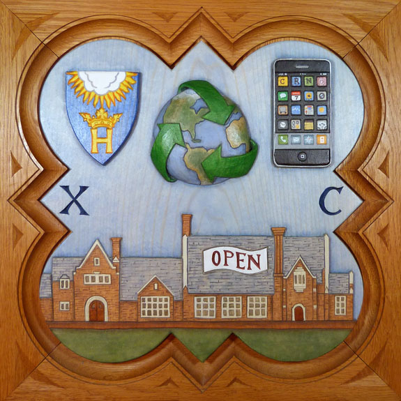 """SPS Form of 2007 Plaque 11.25"""" x 11.25"""", painted basswood."""