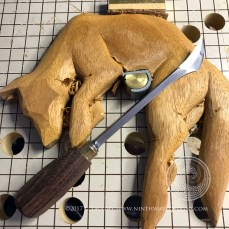 Here is the rough carving with the Abegglen knife - the short handle on this tool means it is held similar to palm tools when carving.,