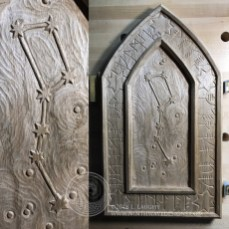 The completed carving showing detail from the center panel.