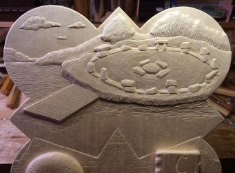 "Detail of the carving on the 2005 plaque showing the stone circle ""Stonehenge"" project."