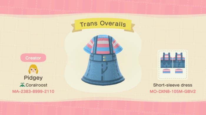 Animal Crossing lgbt trans overalls