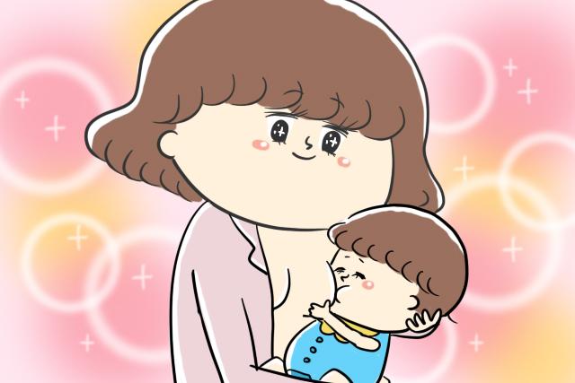 美味しそうに母乳を飲む乳児
