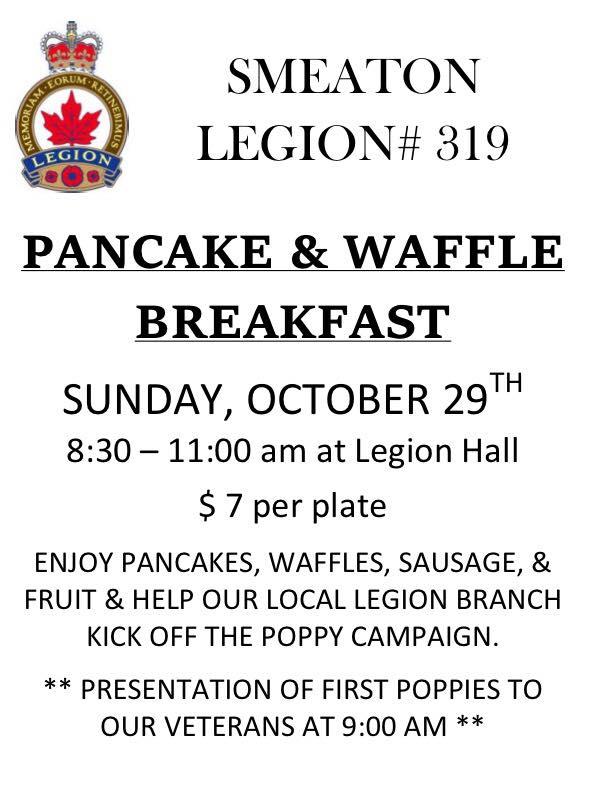 Pancake & Waffle Breakfast - Poppy Campaign - Smeaton