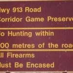 Road Corridor Game Preserve signs