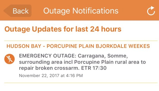 ALL POWER RESTORED Emergency Power Outage – Carragana, Somme